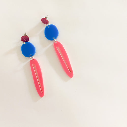 SUPER SALE | Star Burst Trio Dangles - Pink Glitter + Blue + Pink