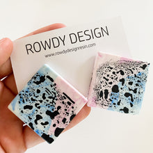 SUPER SALE | Square Disc Speckle Resin Stud Earrings - Pink + Blue with Black Speckle