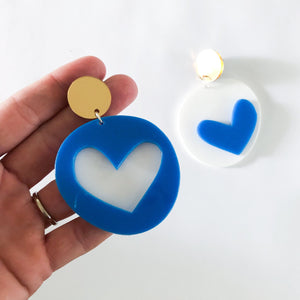 SUPER SALE | mis-matched LOVE FOOL candy dangles | bright BLUE