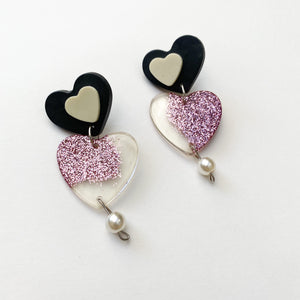 lots of LOVE stacked hearts dangle