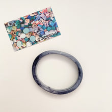 Statement Oval Bangle - Black Swirl