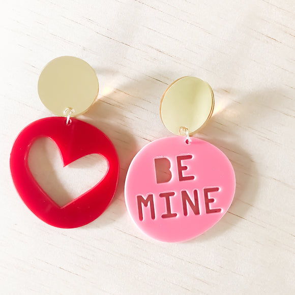 BE MINE candy dangles | bubblegum PINK 'be mine' + luscious RED heart