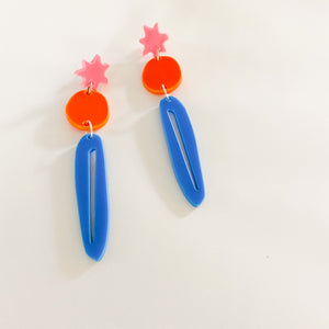 SUPER SALE | Star Burst Trio Dangles - Pink + Orange + Blue