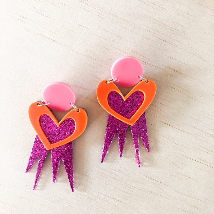 cosmic LOVE dangles | Fuchsia Glitter, Orange + Bubblegum Pink
