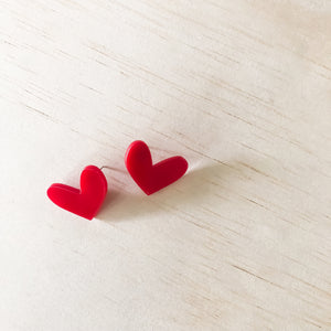 small LOVE HEART studs | Luscious Red
