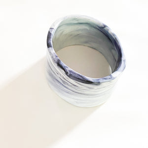 SUPER SALE | Statement Wide Resin Bangle - Black + White Marble