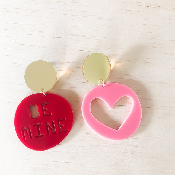 BE MINE candy dangles | luscious RED 'be mine' + bubblegum PINK heart