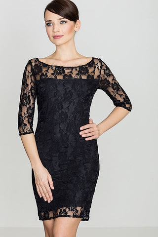 Lace Bodycon Dress 3/4 Sleeve - FashionPriceKilla