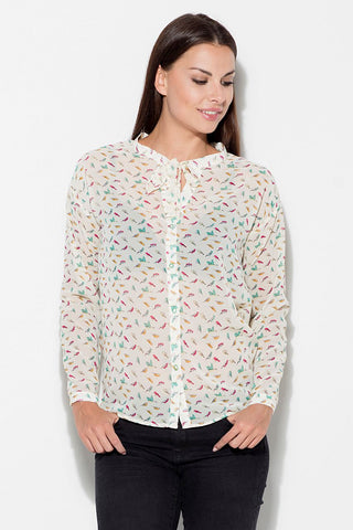 Patterned Bow Tie Women's Shirt