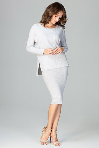 Set - Pencil Skirt and Long-Sleeved Blouse - FashionPriceKilla
