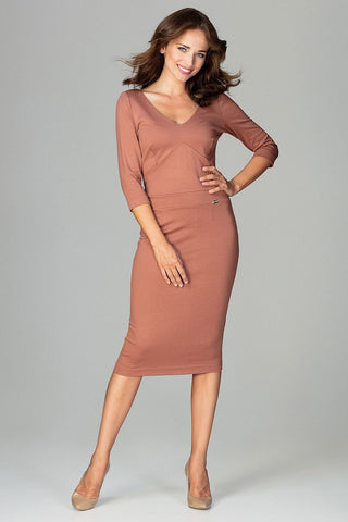 Midi Dress 3/4 Length Sleeves - FashionPriceKilla
