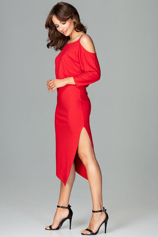 Cold Shoulder Style Midi Dress - FashionPriceKilla