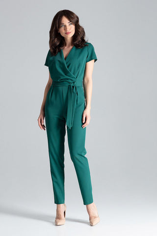 V Neck and Wrap Front Jumpsuit - FashionPriceKilla