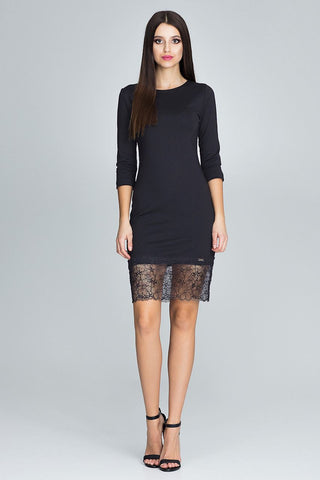 Mini Dress with a Lace Bottom - FashionPriceKilla