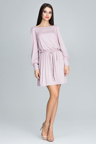 Simple Mini Dress Long Sleeve Belt - FashionPriceKilla