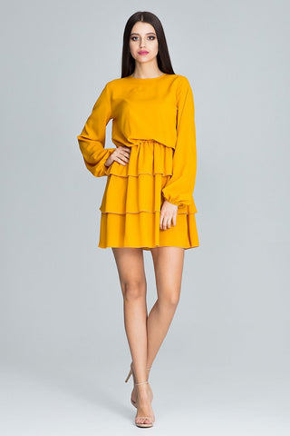 Long Sleeve Flounce Mini Dress - FashionPriceKilla
