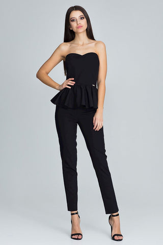 Strapless Peplum Top and Skinny Trousers - Set