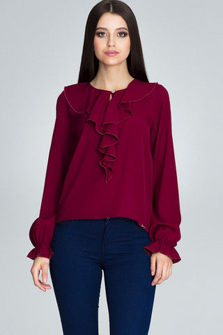 Long Sleeve Blouse with Ruffle Collar - FashionPriceKilla