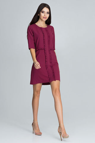 Stylish Ruffle Dress 3/4 Sleeve - FashionPriceKilla