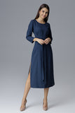 Round Neck and Loose-fitting Long Sleeves Midi Dress - FashionPriceKilla