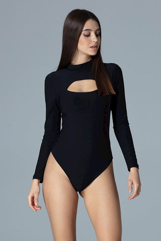Long Sleeves, a High Neck Bodysuit - FashionPriceKilla