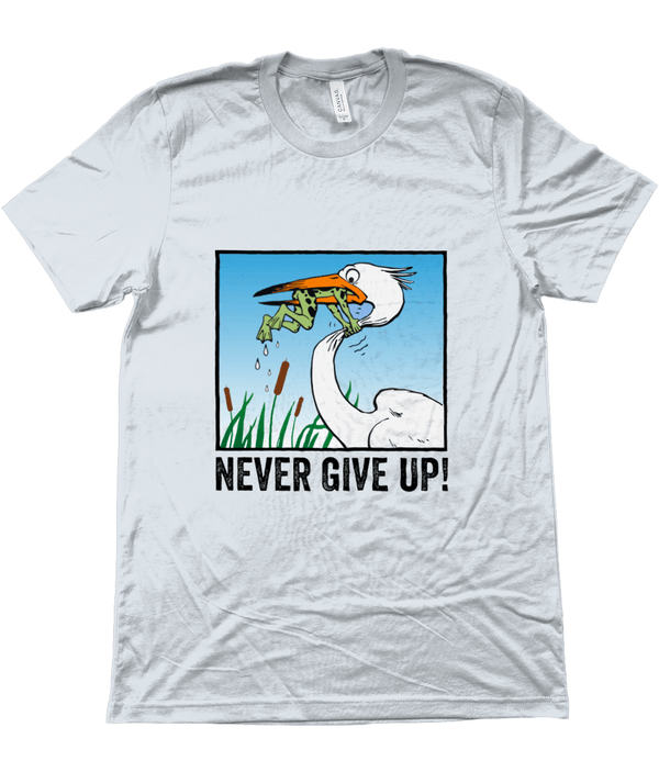 My Hero Buy Suggested Products Heather Prism Ice Blue / X-Small Never Give Up Tee