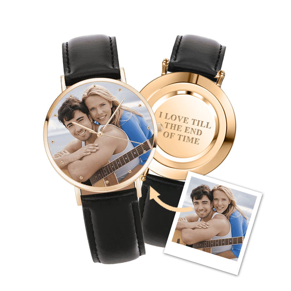 Unisex Engraved Photo Watch Black Leather Strap