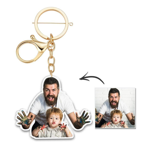 Custom Photo Keychain Colorful Picture Unique Design Father's Gifts