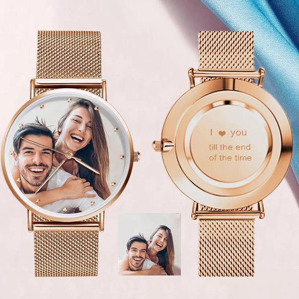 Unisex Engraved Rose Gold Photo Watch