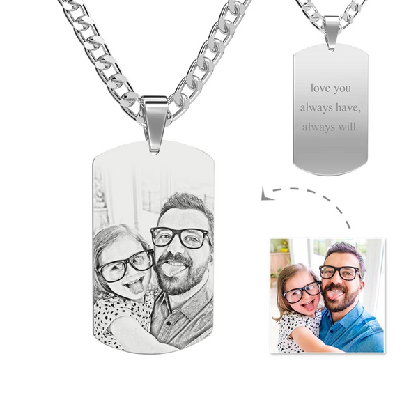 Father's Day Gifts Mens Necklace, Engraved Necklace, Personalized Photo Necklace