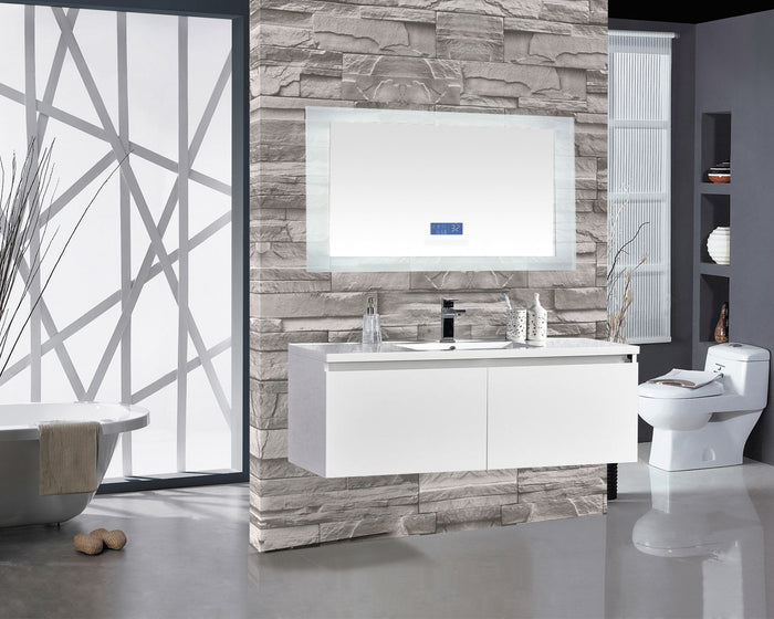 Encore BLU102 LED Illuminated Bathroom Mirror with Built-In Bluetooth Speaker with Blue screen - 60