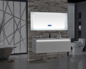 "Encore BLU102 LED Illuminated Bathroom Mirror with Built-In Bluetooth Speaker with Blue screen - 72"" x 27"""