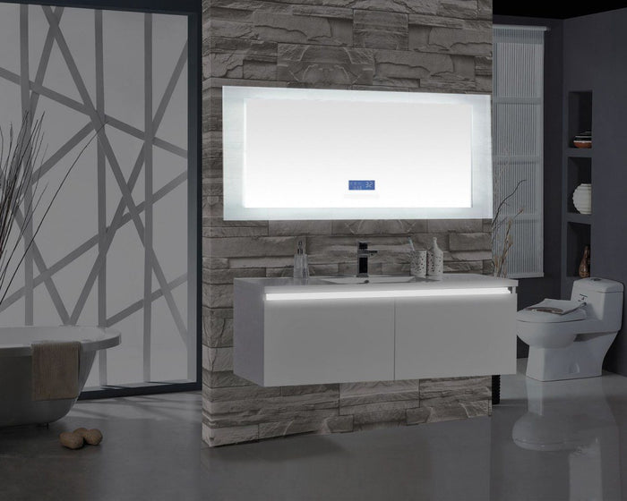 Encore BLU102 LED Illuminated Bathroom Mirror with Built-In Bluetooth Speaker with Blue screen - 72