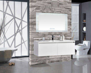 "Encore BLU103 LED Illuminated Bathroom Mirror with Built-In Bluetooth Speaker - 60"" x 27"""