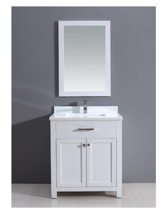 Dawn - Vanity Set: Counter Top (AAMT302135-01), Cabinet (AAMC302135-01) & Mirrior (AAM2230-00), Pure White