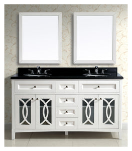 Dawn - Vanity Set; Counter Top (AACT602134-01), Cabinet (AACC602134-01) & 2 Mirrors (AAM2230-01), Beige White cabinet with black top