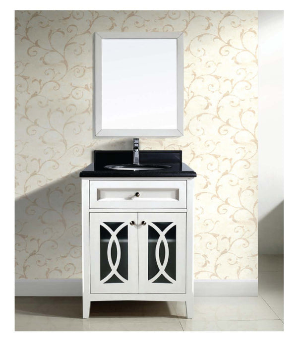 Dawn - Vanity Set ; Counter Top (AACT302134-01), Cabinet (AACC302134-01) & Mirror (AAM2230-01), Beige White cabinet with black top
