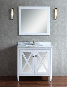 "Reflection 24"" Single Sink Bathroom Vanity Set, White"