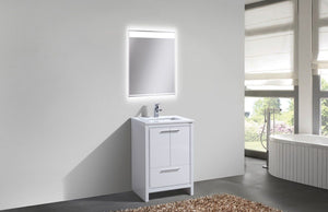 "Kubebath - Dolce 24"" High Gloss White Modern Bathroom Vanity With White Quartz Counter-Top"