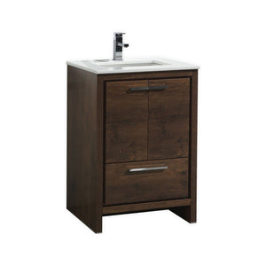 "KubeBath Dolce 24"" Rose Wood Modern Bathroom Vanity with White Quartz Counter-Top"