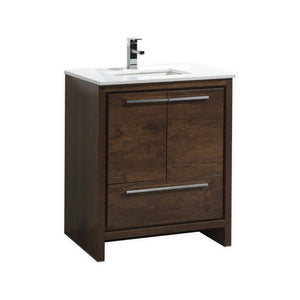"KubeBath Dolce 30"" Rose Wood Modern Bathroom Vanity with White Quartz Counter-Top"