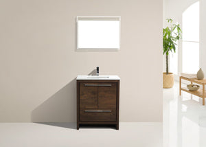 "Kubebath - Dolce 30"" Rose Wood Modern Bathroom Vanity With White Quartz Counter-Top"