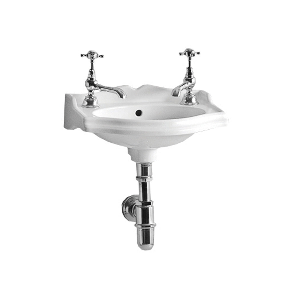 Isabella Collection Small Rectangular Wall Mount Basin With Integrated Oval Bowl, Backsplash, Decorative Trim, Overflow And Two Hole Faucet Drilling