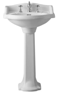 Isabella Collection Traditional Pedestal With An Integrated Small Oval Bowl,Backsplash, Dual Soap Ledges, Decorative Trim And Overflow