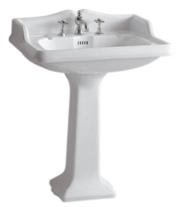 Isabella Collection Traditional Pedestal With An Integrated Large Rectangular Bowl,Backsplash, Dual Soap Ledges, Decorative Trim And Overflow