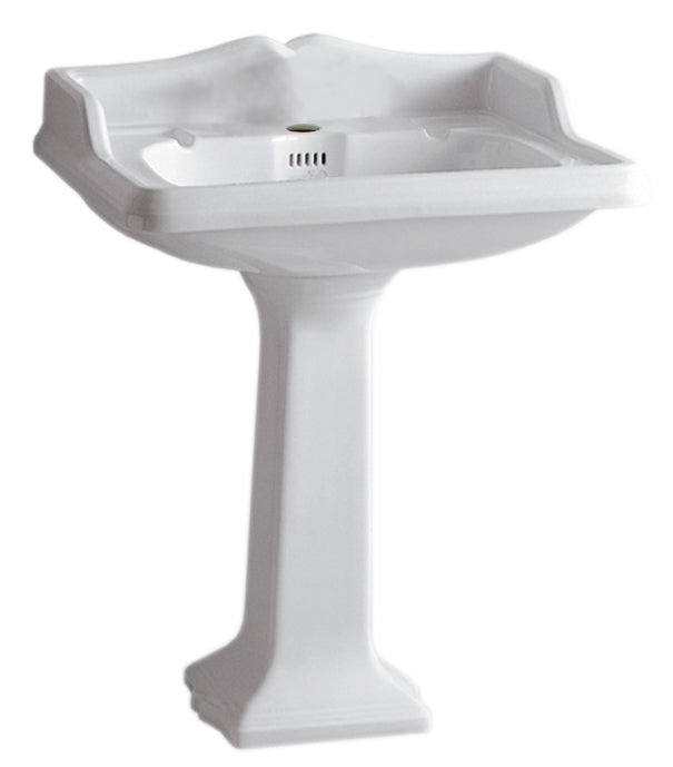 Isabella Collection Traditional Pedestal With An Integrated Large Rectangular Bowl, Backsplash, Dual Soap Ledges, Decorative Trim And Overflow