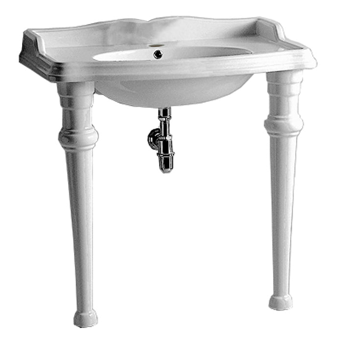 Isabella Collection Rectangular Console With Integrated Oval Bowl, Single Hole Faucet Drill, Backsplash, Ceramic Leg Support And Chrome Overflow