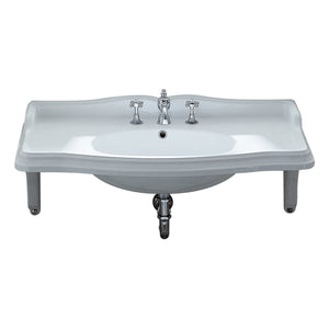 Isabella Collection Large Rectangular Wall Mount Basin With Integrated Oval Bowl, Widespread Faucet Drilling And Ceramic Shelf Supports
