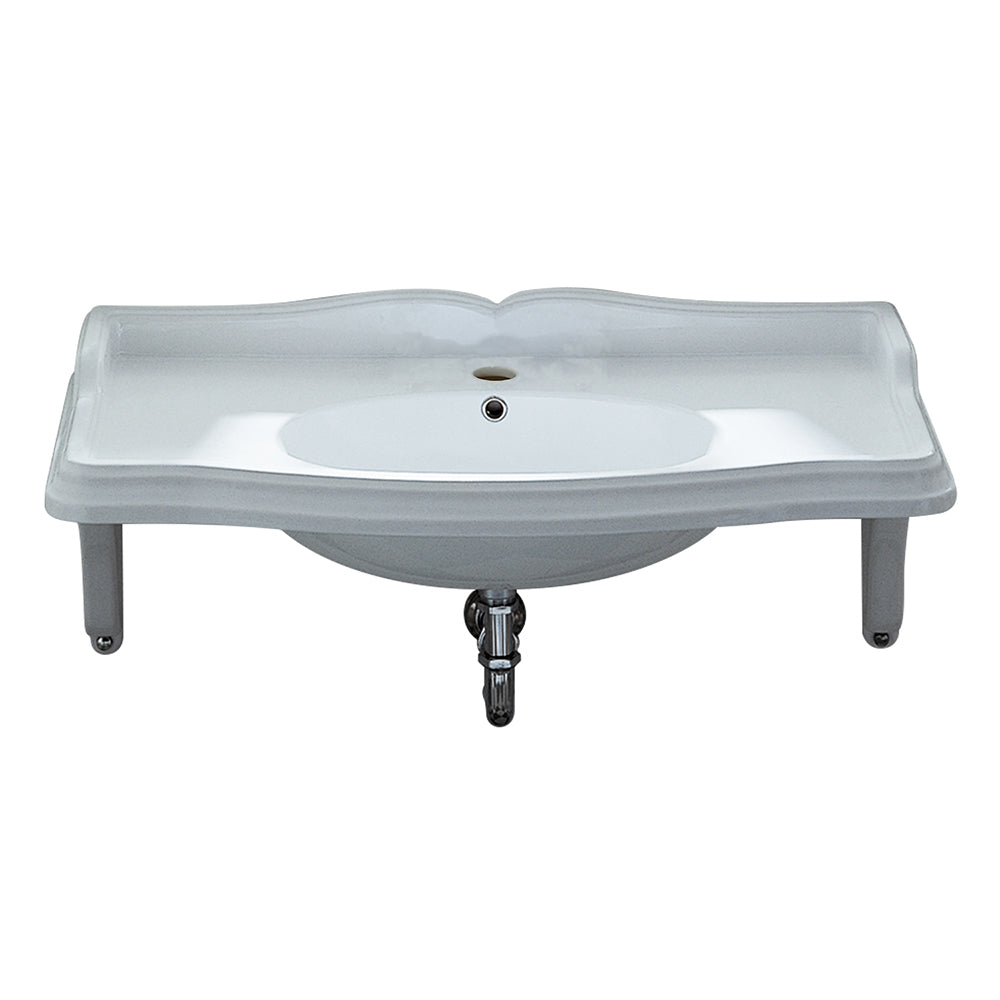 Isabella Collection Large Rectangular Wall Mount Basin With Integrated Oval Bowl, Single Hole Faucet Drilling And Ceramic Shelf Supports