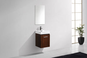 "Kubebath - Bliss 16"" Walnut Wall Mount Modern Bathroom Vanity"